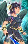 1boy bike_shorts black_hair dark_pit karasuma_pink kid_icarus kid_icarus_uprising red_eyes solo sword toga weapon wings