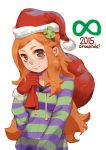 1girl 4chan artist_name artist_request bangs blush christmas freckles green_eyes hair_ornament hat highres jpeg_artifacts long_hair looking_at_viewer orange_hair payot santa_hat smile solo vivian_james