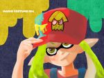 1girl adjusting_clothes adjusting_hat baseball_cap green_eyes green_hair hat inkling mario mario_(cosplay) overalls paint_stains pointy_ears red_shirt shirt solo splatoon squid_print super_mario_bros. tentacle_hair