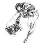 1girl arm_cannon chi-class_torpedo_cruiser highres kantai_collection leg_up long_hair monochrome navel ooi_(kantai_collection) shinkaisei-kan simple_background solo taisowbukurow weapon white_background