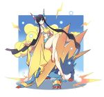 1girl bare_shoulders black_hair blue_eyes earphones fur_coat kamitsure_(pokemon) manectric mega_manectric midriff pokemon pokemon_(creature) pokemon_(game) pokemon_bw2 tm_(hanamakisan)