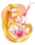 1girl ;d aida_mana arm_up blonde_hair choker cure_heart dokidoki!_precure highres long_hair looking_at_viewer magical_girl mikan_(mikataaaa) one_eye_closed open_mouth pink_eyes ponytail precure smile solo very_long_hair