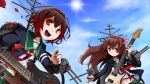 2girls antenna_hair brown_hair cannon clouds electric_guitar flower gradient_hair guitar hair_ornament instrument jacket kantai_collection kisaragi_(kantai_collection) long_hair machinery multicolored_hair multiple_girls mutsuki_(kantai_collection) open_mouth pectong pleated_skirt redhead remodel_(kantai_collection) ribbon rose school_uniform serafuku short_hair skirt sky smile sun turret violet_eyes