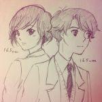 aldnoah.zero amifumi_inko black_hair graphite_(medium) kaizuka_inaho necktie school_uniform short_hair traditional_media uniform