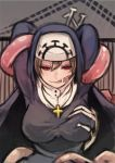 1girl arms_behind_head black_dress breast_grab breasts cross cross_necklace double_(skullgirls) dress glasgow_smile habit large_breasts light_brown_hair long_sleeves monster_girl nun red_eyes short_hair skullgirls smile solo taut_clothes taut_dress tentacles toi_(toiot)
