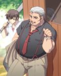 1girl 2boys baseball_bat brown_hair cigarette grey_hair hanyuu higurashi_no_naku_koro_ni horns maebara_keiichi multiple_boys necktie old_man ooishi_kuraudo pants shirt short_hair suspenders sweat zinpati