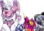 1girl 3boys arcee autobot badge blurr hinomars19 hot_rod kup multiple_boys no_humans robot science_fiction smoking traditional_media transformers