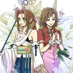 2girls aerith_gainsborough aerith_gainsborough_(cosplay) bangs bow bracelet brown_hair closed_eyes cosplay costume_switch cropped_jacket detached_sleeves final_fantasy final_fantasy_vii final_fantasy_x flower green_eyes hair_bow hands_clasped japanese_clothes jewelry kimono lily_(flower) long_hair multiple_girls parted_bangs pink_bow pipi-mama ponytail short_hair smile staff upper_body yuna_(final_fantasy) yuna_(final_fantasy)_(cosplay)