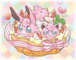 blue_eyes blush cream_puff ears eating food fruit gao_(2334787) happy heart igglybuff jigglypuff no_humans pokemon pokemon_(creature) pudding ribbon strawberry wigglytuff