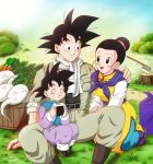 1girl 2boys :d ^_^ artist_name axe belt black_eyes black_hair carrot chichi chinese_clothes closed_eyes dated dragon_ball dragon_ball_super eating family father_and_son food highres husband_and_wife kneeling masa_(p-piyo) mother_and_son multiple_boys on_lap onigiri open_mouth outdoors sitting smile son_gokuu son_goten spiky_hair tree_stump turnip weapon