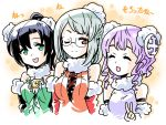 3girls :d ;) bare_shoulders black_hair clock closed_eyes fur_trim glasses green_eyes ishiyumi looking_at_another multiple_girls one_eye_closed open_mouth purple_hair puzzle_&_dragons red_eyes round_glasses short_hair silver_hair skuld_(p&d) smile upper_body urd_(p&d) v verdandi_(p&d)