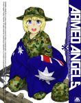 1girl anyan_(jooho) armed_angels assault_rifle australian_flag bayonet blonde_hair blue_eyes boonie_hat bullpup camouflage gun hat helmet knife looking_at_viewer m72_law military military_hat military_uniform open_mouth original rifle seiza shadow short_hair simple_background sitting solo steyr_aug uniform weapon white_background
