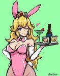 1girl ;) akairiot alcohol animal_ears bare_shoulders blonde blue_eyes bottle bow bowtie breasts bunny_girl bunny_tail bunnysuit cleavage cowboy_shot crown cup curly_hair curvaceous detached_collar drink drinking_glass earrings elbow_gloves female female_only fishnet_legwear fishnet_pantyhose fishnet_stockings fishnets glass gloves green_background hand_on_hip heart jewelry large_breasts leotard lips long_hair looking_at_viewer mario_(series) martini martini_glass metroid mushroom nintendo one_eye_closed pantyhose plate princess_peach rabbit_ears sketch smile solo solo_female stockings super_mario_bros. tail tray waitress white_gloves wine_glass wink wrist_cuffs