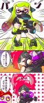 2girls 3koma bike_shorts black_gloves breastplate comic domino_mask emphasis_lines gloves goggles green_hair headgear heart heart_hair highres inkling kabyu long_hair multiple_girls octarian open_mouth pink_hair redhead smile splatoon super_soaker takozonesu tentacle_hair tentacles translation_request violet_eyes yuri