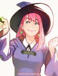 1girl annie_mei annie_mei_project breasts caleb_thomas cloak cosplay earrings green_eyes hat jewelry lips lipstick little_witch_academia long_hair makeup pink_hair revision smile solo wand witch_hat