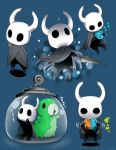 1other arizuka_(catacombe) blue_background bug cloak highres holding holding_sword holding_weapon hollow_knight hollow_knight_(character) insect multiple_views simple_background sword translation_request weapon worms