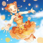 1:1_aspect_ratio aikatsu! arisugawa_otome bent_knees bracelet dated double_bun dress earrings english_text exposed_shoulders female floating food_as_clothes food_themed_clothes happy_birthday jewelry kneeling midair necklace orange_dress orange_eyes orange_hair orange_outfit outstretched_arms piercing pixiv_id_6180266 sleeveless sleeveless_dress solo strapless strapless_dress text