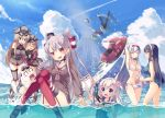 6+girls ^_^ afloat amatsukaze_(kantai_collection) ass ball bare_legs bare_shoulders beachball bikini bismarck_(kantai_collection) black_hair blonde_hair blue_eyes blue_swimsuit blush breasts cat choker cleavage closed_eyes d: flower garter_straps glasses gloves green_eyes groin hair_flower hair_ornament hair_tubes hand_on_own_head hat headband highres holding holding_panties jet_ski kantai_collection long_hair military military_uniform multiple_girls navel one-piece_swimsuit ooyodo_(kantai_collection) open_mouth orange_eyes panties partially_submerged peaked_cap ponytail prinz_eugen_(kantai_collection) red_legwear ro-500_(kantai_collection) sailor_collar sailor_dress school_swimsuit school_uniform serafuku shoukaku_(kantai_collection) side-tie_bikini side-tie_panties silver_hair single_glove sitting smile swimsuit swimsuit_under_clothes tahya thigh-highs twintails two_side_up underwear uniform upper_body very_long_hair volcano white_bikini white_gloves white_swimsuit yuubari_(kantai_collection)