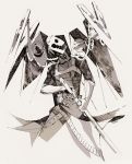 artist_name chain gloves hamau harness monochrome persona persona_3 sketch skull_and_crossbones sword thanatos weapon