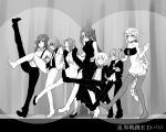 absurdly_long_hair alternate_costume bare_shoulders blush bowtie braid breasts dancing dress eyepatch feather_boa female_admiral_(kantai_collection) flat_chest flying_sweatdrops formal height_difference highres kantai_collection kekkai_sensen kiso_(kantai_collection) large_breasts long_hair monochrome nachi_(kantai_collection) nagisa_moa open_mouth pant_suit ponytail shiranui_(kantai_collection) side_ponytail side_slit smile suit suspenders tatsuta_(kantai_collection) tenryuu_(kantai_collection) thigh-highs turtleneck unryuu_(kantai_collection) very_long_hair white_hair