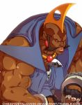 birdie_(street_fighter) blonde_hair chain dark_skin fingerless_gloves gloves metalhanzo mohawk muscle shirtless sideburns solo street_fighter street_fighter_zero very_dark_skin