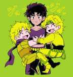 3boys akiyoku black_hair blonde_hair dio_brando dual_persona fang highres hug jojo_no_kimyou_na_bouken jonathan_joestar multiple_boys sweatdrop