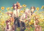 ahoge alternative_costume anthropomorphization arms_behind_back atsu_toushirou black_hair brown_eyes brown_hair bucket cape child closed_eyes closed_mouth clothes_around_waist collar_(clothes) day field flower flower_field group hirano_toushirou holding holding_flower holding_object honebami_toushirou jacket jacket_around_waist leaf long_sleeves looking_at_another maeda_toushirou male medium_hair megane namazuo_toushirou namie-kun necktie open_clothes open_mouth outdoors png_conversion shirt short_hair sky sleeves_rolled_up smile standing sunflower touken_ranbu twitter violet_eyes watering_can white_hair white_shirt yagen_toushirou yellow_flower