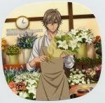 apron bandaged_hand bandages bangs blue_flower bouquet brown_eyes brown_hair character_name clavicle clock closed_mouth copyright_name flower frame high_resolution holding holding_flower indoors konomi_takeshi large_filesize leaf light_background lily_(flower) logo looking_at_viewer male one_eye_closed orange_flower pink_flower prince_of_tennis red_flower ribbon rose_(flower) rounded_corners scan shiraishi_kuranosuke shirt shitenhoji short_hair simple_background smile solo text very_high_resolution white_background white_flower white_lily white_shirt wink yellow_flower yellow_ribbon