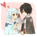 1:1_aspect_ratio black_hair blue_hair blush brown_eyes cloak fairy_tail flower heart low_resolution red_eyes rogue_cheney rsk_(riy.r) short_hair yukino_aguria
