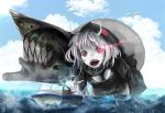 1boy 1girl admiral_(kantai_collection) bird blue_sky boat breasts cleavage clouds downblouse fish fishing fishing_rod giantess glowing glowing_eyes highres hood kantai_collection looking_at_another ocean open_mouth re-class_battleship red_eyes scarf seagull sharp_teeth shinkaisei-kan short_hair silver_hair sinkai sky