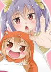 2girls :d blonde_hair blue_hair brown_eyes chibi company_connection crossover doma_umaru hamster_costume highres himouto!_umaru-chan kazuya_lolicon looking_at_viewer miyauchi_renge multiple_girls non_non_biyori open_mouth red_eyes season_connection smile twintails