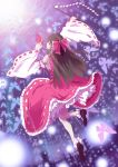 back black_eyes black_hair bow butterfly detached_sleeves dress exposed_shoulders expressionless female frills full_body gohei hair_bow hair_ornament hair_tubes hakurei_reimu high_resolution long_hair looking_at_viewer ofuda paper pixiv_id_6782248 red_dress red_outfit sleeveless solo stick touhou wide_sleeves wood