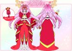 alternative_costume back cure_scarlet dress earrings female go!_princess_precure gown jewelry long_hair looking_at_viewer magical_girl nakatani_yukiko official_art piercing pink_hair pointed_ears precure red_eyes ringlets smile solo standing towa_(pretty_cure)