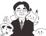 closed_eyes formal glasses grin inkerton-kun iwata_satoru kirby kirby_(series) mother_(game) mother_2 ness nintendo pikachu pokemon real_life_insert round_glasses smile suit v
