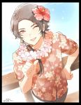 1boy black_border border brown_hair earrings flower from_above hair_flower hair_ornament hawaiian_shirt jewelry kashuu_kiyomitsu lei long_hair looking_at_viewer male_focus mizuhara_aki one_eye_closed open_mouth ponytail red_eyes shirt solo touken_ranbu
