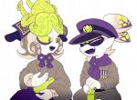 2boys armor bags_under_eyes commander_atarime dj_takowasa facial_hair fangs goatee green_eyes green_sclera hat helmet japanese_armor japanese_clothes kabuto looking_at_another medal military military_hat military_uniform monochrome multiple_boys ponytail scarf sea_anemone simple_background sizma smile splatoon spot_color tentacle_hair uniform white_background younger