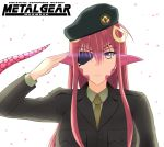 1girl beret big_boss big_boss_(cosplay) eyepatch green_kaminari hair_ornament hairclip hat lamia metal_gear_(series) miia_(monster_musume) monster_girl monster_musume_no_iru_nichijou necktie parody petals pointy_ears redhead salute scales slit_pupils solo uniform upper_body yellow_eyes