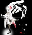 1boy gloves hood japanese_clothes katana male_focus monochrome oekaki-daisuki-dessu partly_fingerless_gloves pom_pom_(clothes) sheath smile spot_color sword touken_ranbu tsurumaru_kuninaga unsheathing weapon wings yellow_eyes