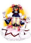 1boy belt bow crossdressing crossover dress frilled_dress frills gloves helmet highres kamen_rider kamen_rider_gaim kamen_rider_gaim_(series) kaname_madoka_(cosplay) kyubey magical_girl mahou_shoujo_madoka_magica male parody