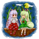 bad_id bamboo bamboo_forest chibi chiyako closed_eyes cloud dress ex-keine ex_keine forest fujiwara_no_mokou green_hair kamishirasawa_keine long_hair moon multiple_girls nature red_eyes ribbon silver_hair sky smile stone tail touhou