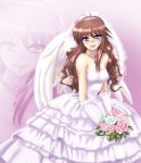 bouquet bridal_veil bride brown_hair dress elbow flower gloves hayashiya_zangourou hayashiya_zankurou jewelry long_hair m.u.g.e.n mugen_(game) necklace rose tears veil wedding_dress wings zoom_layer
