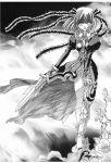 dark_persona dress estellise_sidos_heurassein frills highres milk_crown monochrome nail_polish ribbon short_hair sword tales_of_(series) tales_of_vesperia vines weapon