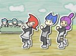 animated animated_gif blue_hair dancing galactic_grunt gif jupiter_(pokemon) lowres marching mars_(pokemon) narutaru nintendo pantyhose parody pokemon purple_hair red_hair redhead saturn_(pokemon) smile team_galactic team_galactic_grunt