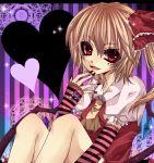 flandre_scarlet hat nail_polish ponytail red_eyes sakurase_yuzuru short_hair side_ponytail striped striped_background touhou wings