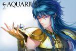 1boy aquarius_camus armor blue_eyes blue_hair diamond full_armor long_hair male_focus product_placement saint_seiya solo yonakaforever
