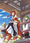 2girls architecture bare_shoulders black_legwear blonde_hair breasts cleavage detached_sleeves east_asian_architecture green_hair grey_eyes hair_ornament hair_tie headband highres ho-oh midriff multicolored_hair multiple_girls one_eye_covered personification pokemon redhead short_hair sitting_on_railing smile thigh-highs xatu yuuichi_(reductionblack)
