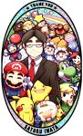 balloon_fight baseball_cap black_hair brown_hair donkey_kong donkey_kong_(series) doubutsu_no_mori fairy formal fox_mccloud glasses hammer hat ice_climber iwata_satoru kirby kirby_(series) link mario metroid mother_(game) mother_2 nana_(ice_climber) ness nintendo olimar pikachu pikmin pikmin_(creature) pokemon popo_(ice_climber) salute samus_aran shizue_(doubutsu_no_mori) smile star_fox suit super_mario_bros. super_smash_bros. tanukichi_(doubutsu_no_mori) thank_you the_legend_of_zelda toon_link v varia_suit yoshi