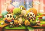 2015 artist_name bird buttons clouds colorful copyright_name highres holding knitting_needle needle no_humans pointing shy_guy sitting spool standing stitches sui_(petit_comet) thread wool yarn yarnball yoshi yoshi's_woolly_world