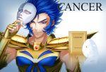 1boy armor blue_eyes blue_hair cancer_deathmask full_armor grinning male_focus mask mask_removed saint_seiya solo yonakaforever