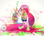 1girl bike_shorts domino_mask green_eyes green_shirt headband inkling long_hair mask paint paint_roller paint_splatter pink_hair pointy_ears poroi_(poro586) shirt shoes smile sneakers solo splatoon tentacle_hair twitter_username